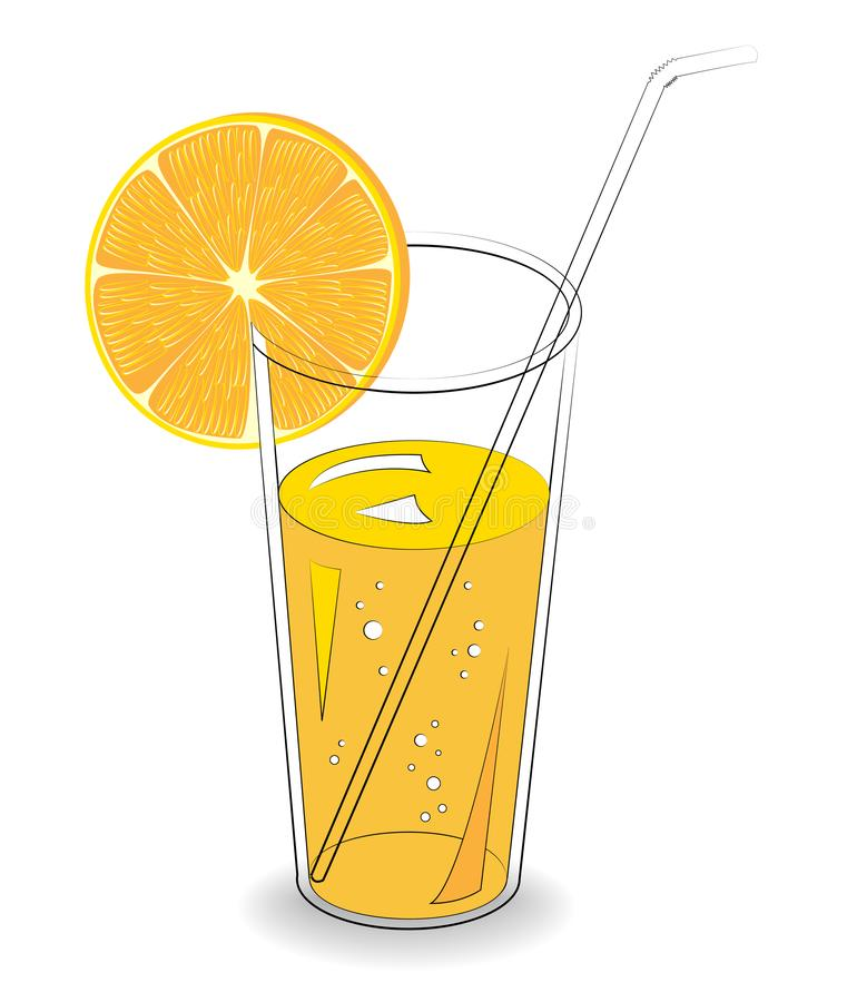 Delicious refreshing drink. In a glass of natural fruit juice, a slice of orange, mandarin. Vector illustration royalty free illustration