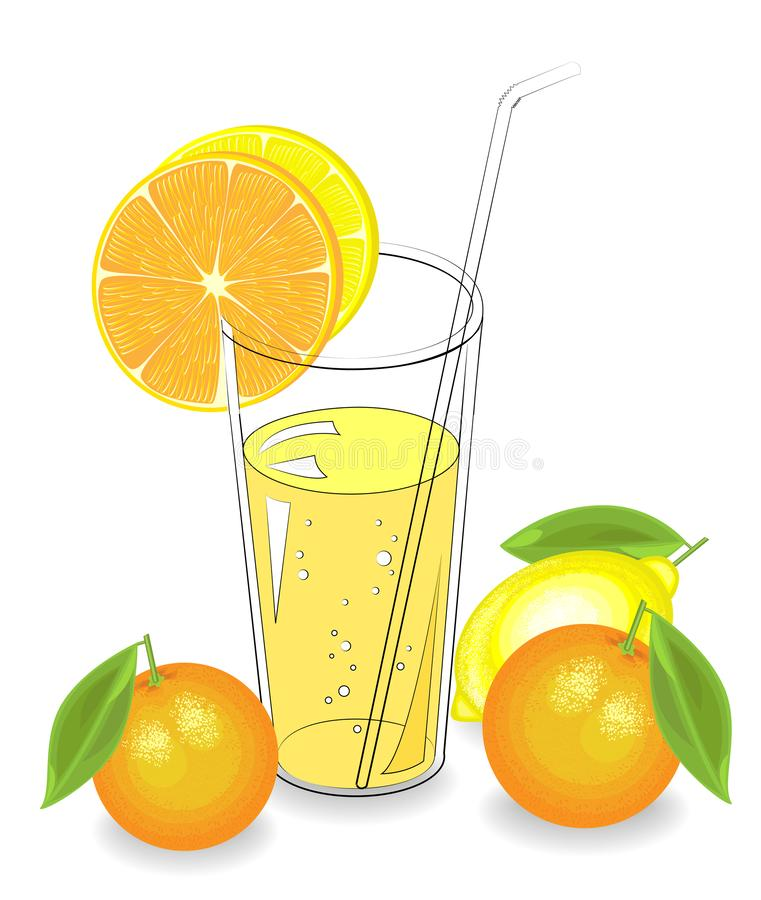 Free Delicious Refreshing Drink. In A Glass Of Natural Fruit Juice, A Piece Of Mandarin, Lemon, Orange. Vector Illustration Royalty Free Stock Image - 147514036
