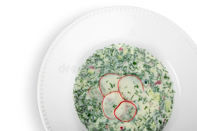 Delicious restaurant food in white plate isolated stock images