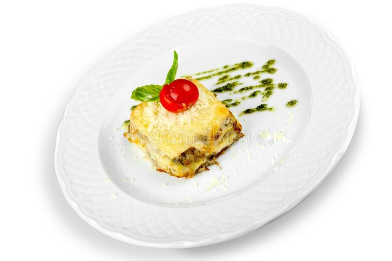 Delicious restaurant food in white plate isolated stock photography