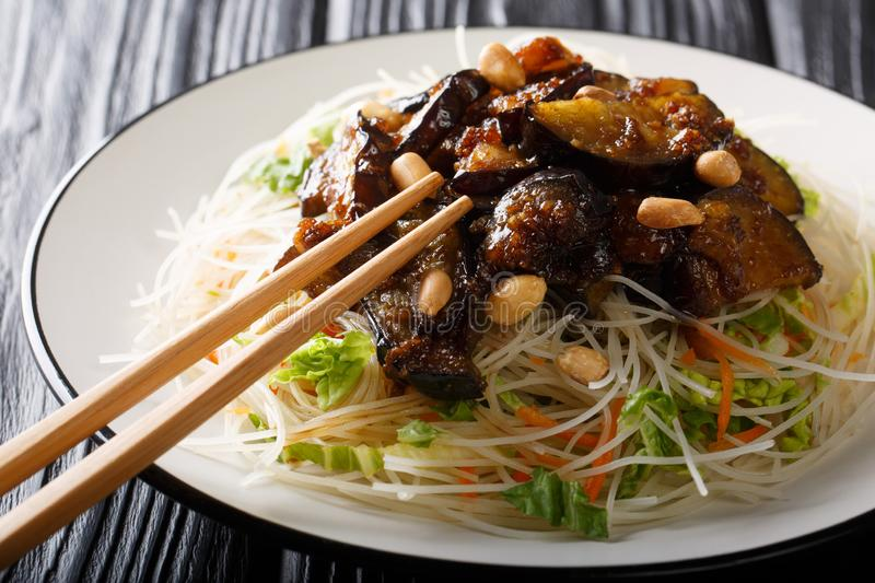 Delicious rice vermicelli with caramelized eggplants and peanuts close-up on a plate. horizontal. Delicious rice vermicelli with caramelized eggplants and royalty free stock photos