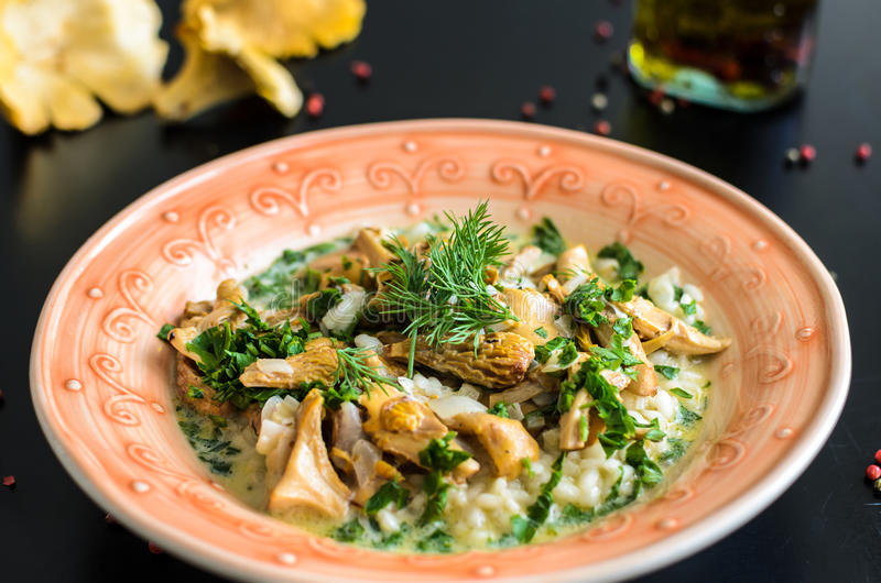 Delicious risotto with chanterelle mushrooms over rustic black background stock image
