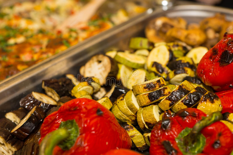Delicious roasted fresh vegetables in a metal tray royalty free stock photo