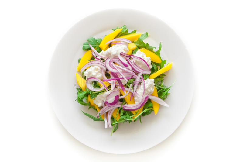Delicious Rucola Salad. On a plate on white stock photography