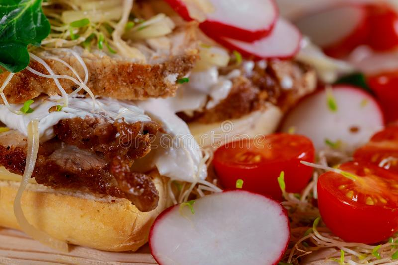 Delicious rustic lunch of a meat loaf sandwich with a crusty white filled with pork and cherry tomatoes, radish, onions, cheese,. Rustic delicious lunch of a stock photos