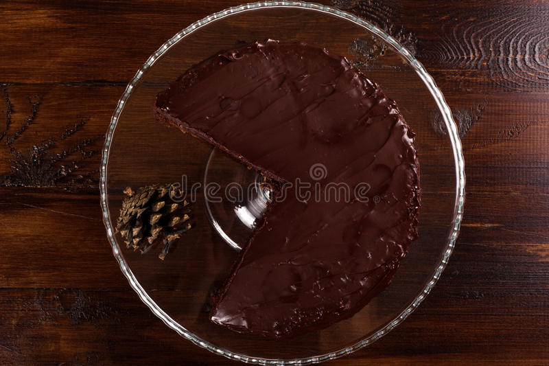 Delicious Sacher chocolate cake. Top view. royalty free stock images