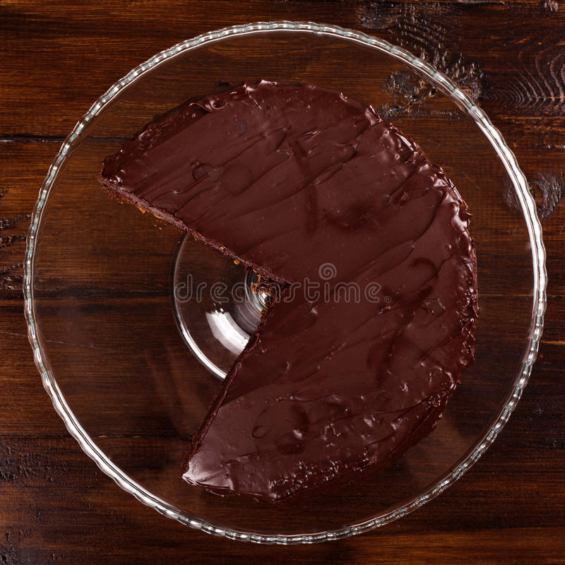 Delicious Sacher chocolate cake. Top view. royalty free stock image