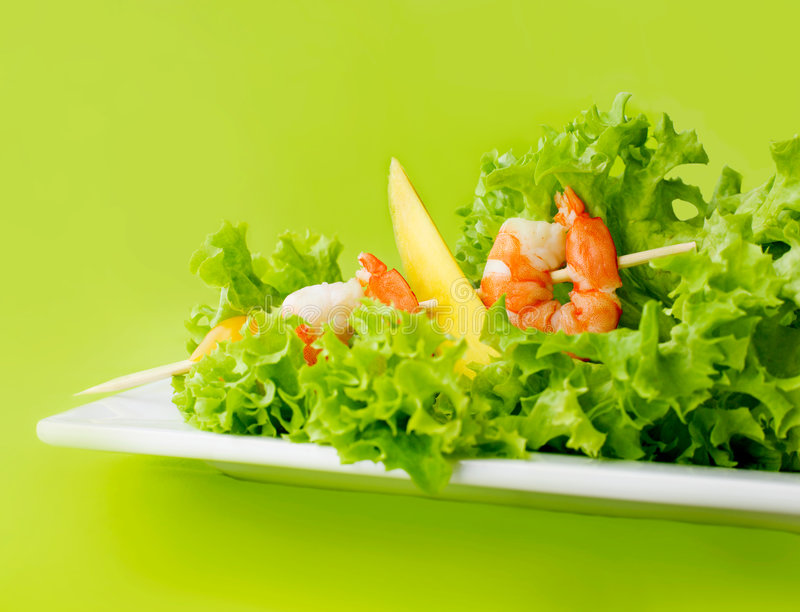 Download Delicious salad of shrimps stock photo. Image of closeup - 8907436