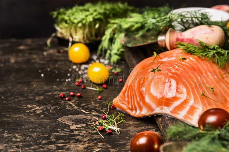 Delicious salmon fillet with aromatic herbs and spices on dark wooden background. Healthy food cooking concept royalty free stock photography