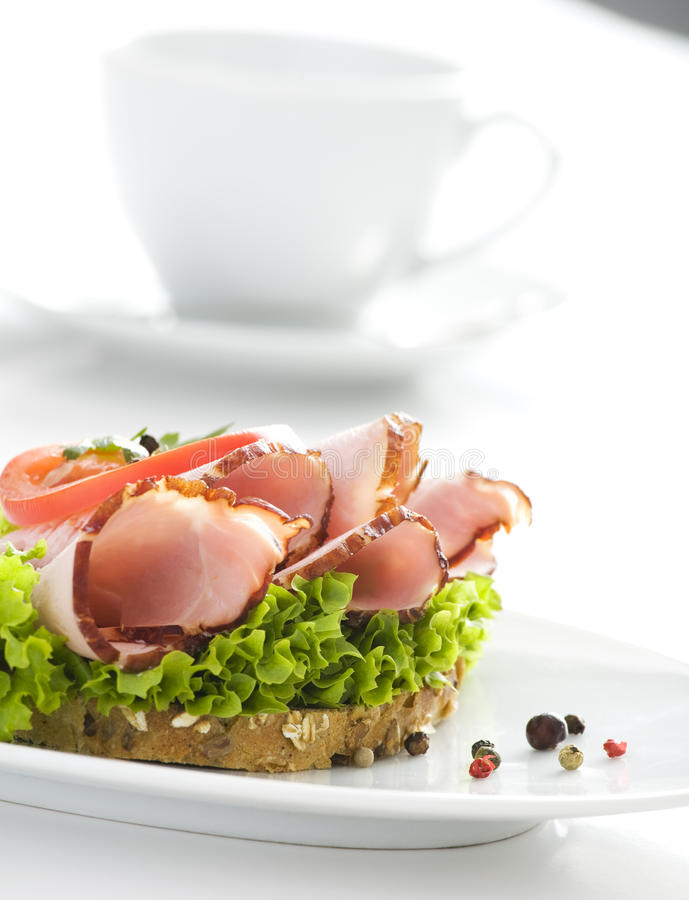 Delicious sandwich & cup of coffee royalty free stock image