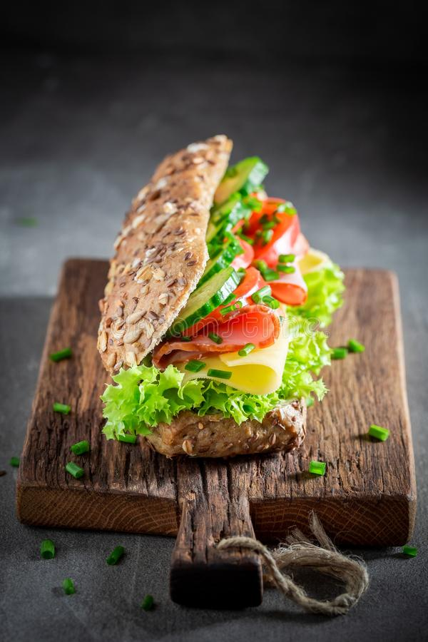 Delicious sandwich with ham, cheese and tomato for breakfast stock image
