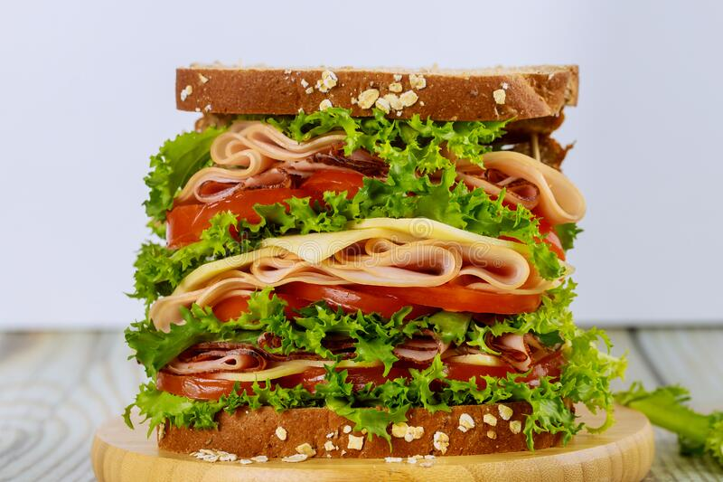 Delicious sandwich with ham and vegetables stock image