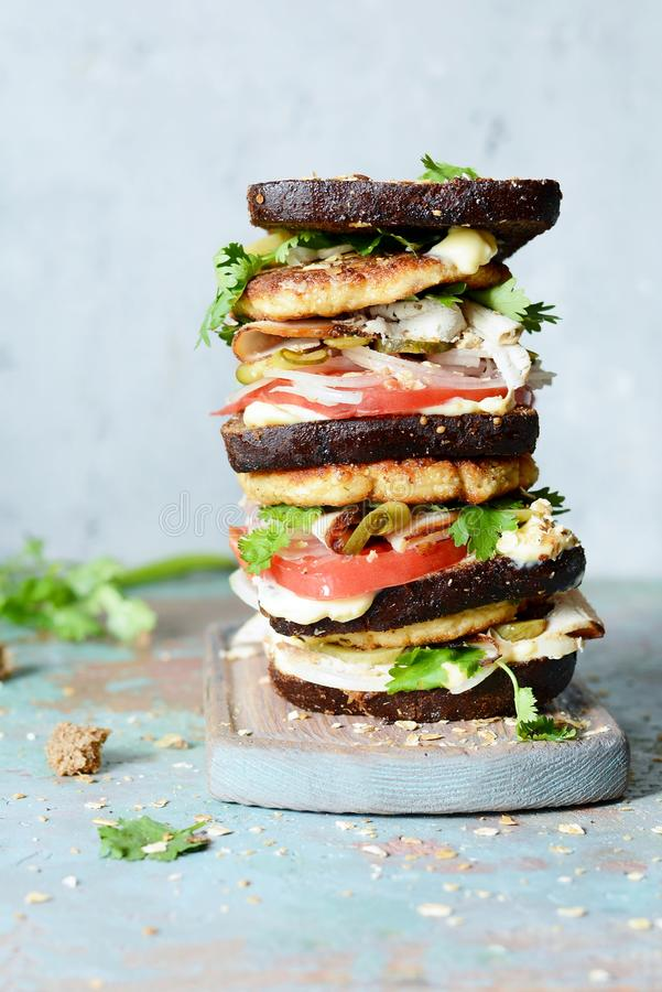 Delicious sandwich with rye bread, meat, cheese, turkey, onion, tomato, cilantro and mayonnaise a gray background. High royalty free stock photography