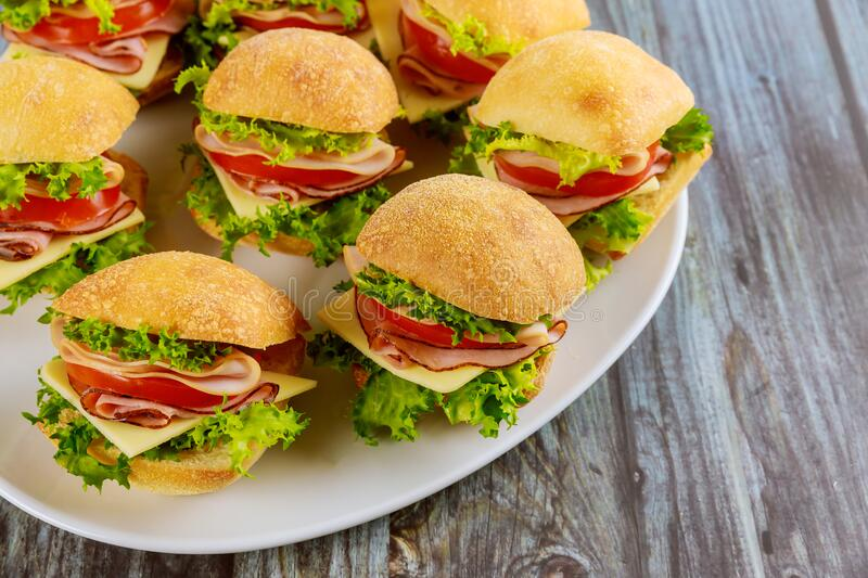Delicious sandwiches made from ciabatta roll with ham royalty free stock photo