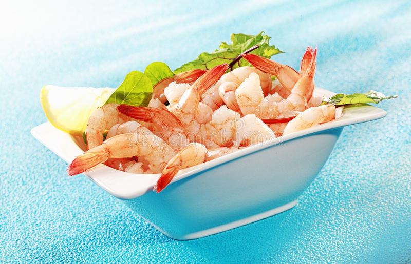 Delicious seafood appetizer of grilled shrimp stock photo