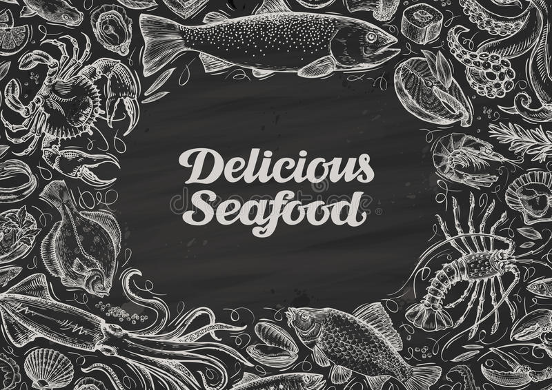 Delicious seafood. hand drawn food on chalkboard. template design menu restaurant, cafe royalty free illustration