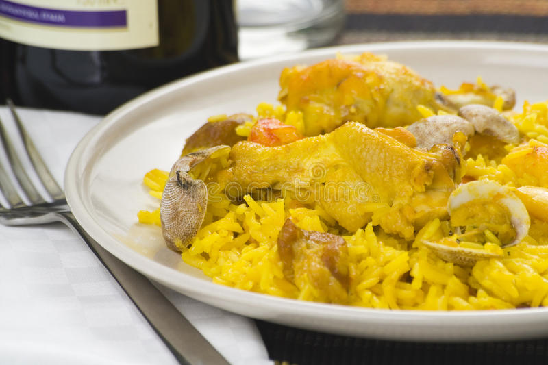 Delicious Seafood Paella And Chicken Rice Yellow Stock Image
