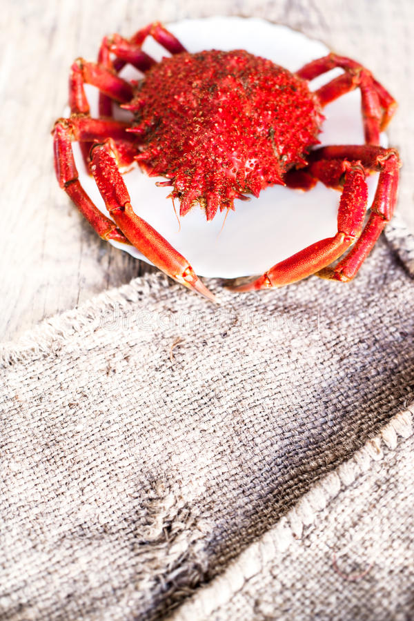 Delicious seafood - Red crab on white plate and rustic sack clot royalty free stock image