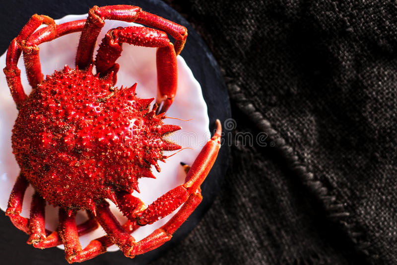 Delicious seafood - Red crab on white plate and rustic sack clot royalty free stock photo