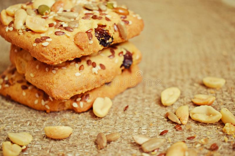 Delicious shortbread cookies with nuts. stock images