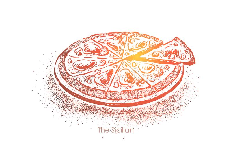 Delicious sicilian pizza, authentic fast food in Palermo, meal with anchovies, cheese and sauce, sliced snack stock illustration