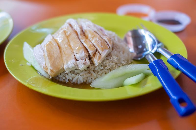 Delicious Singapore chicken rice, Hainanese Asian food style royalty free stock photo