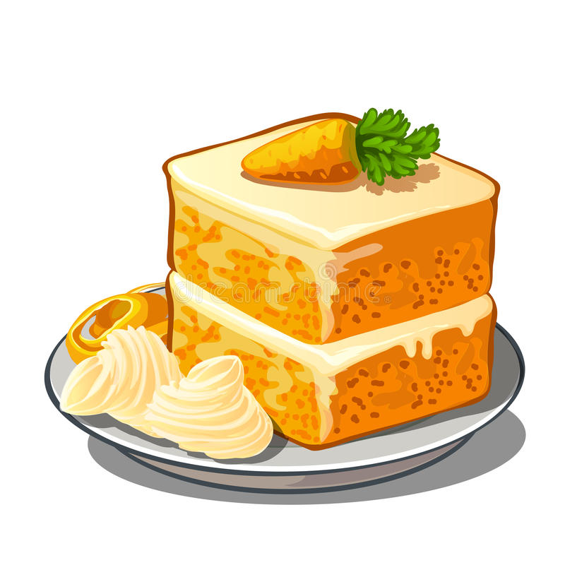Delicious slice of carrot cake on plate. Delicious piece of carrot cake on plate with cream and a little carrot on top. Vector dessert isolated. Food stock illustration