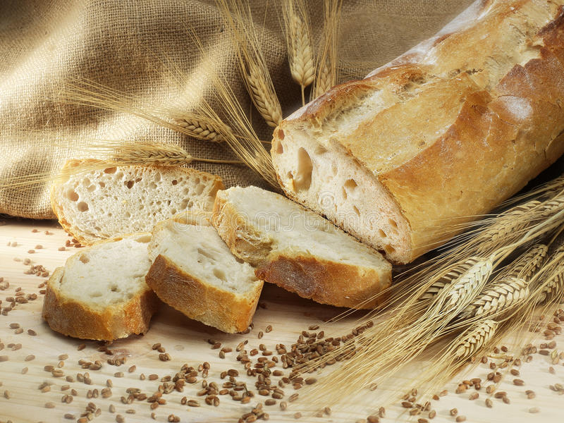 Delicious sliced bread. Delicious italian sliced bread and cereal royalty free stock images