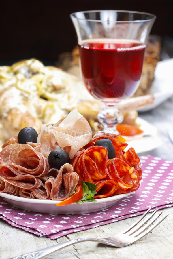 Delicious sliced ham. Party platter stock images