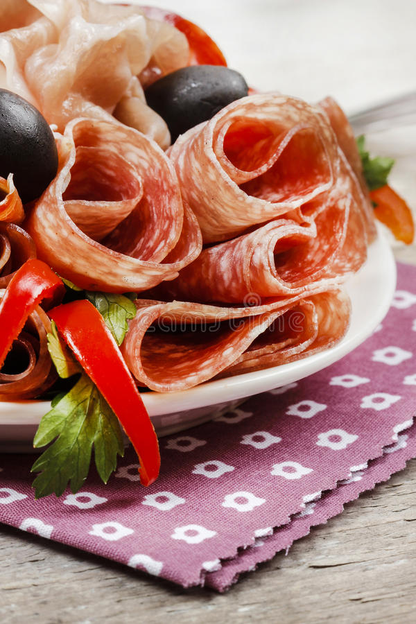 Delicious sliced ham. Party platter royalty free stock image