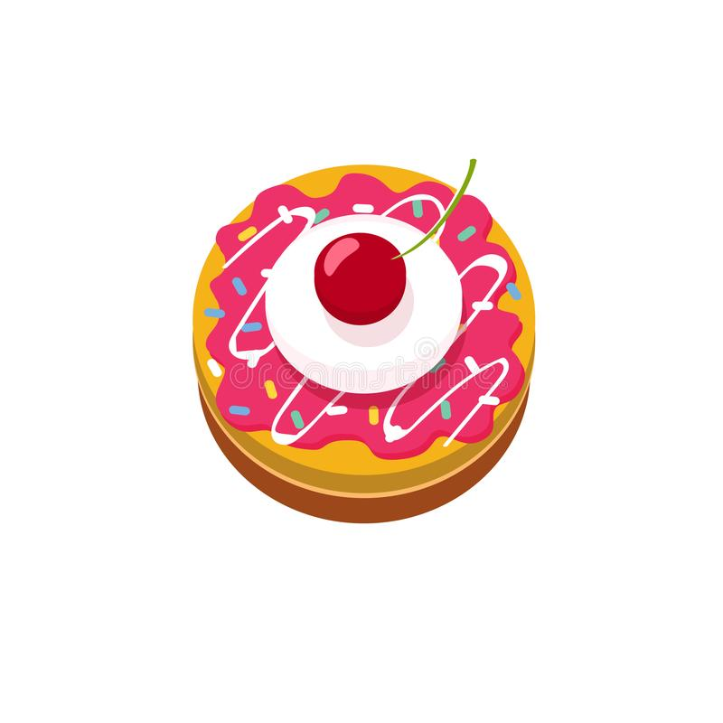 Delicious small cake with cherry vector icon or logo concept, flat cartoon sweet desert illustration isolated, idea of royalty free illustration