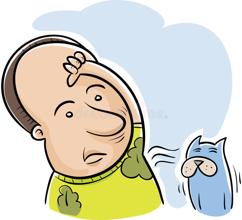 Delicious Smell. A cartoon man discovers his cat loves the delicious smell of his armpits royalty free illustration