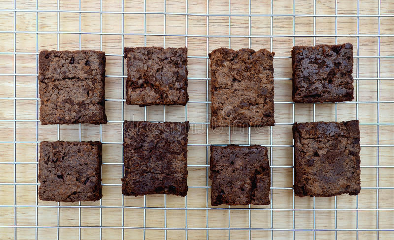 Delicious and soft fresh homemade brownie chocolate, square and stock photography