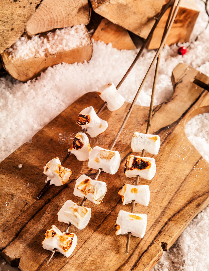Delicious soft melted grilled marshmallows royalty free stock photo