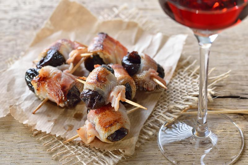 Spanish tapas with port wine stock image