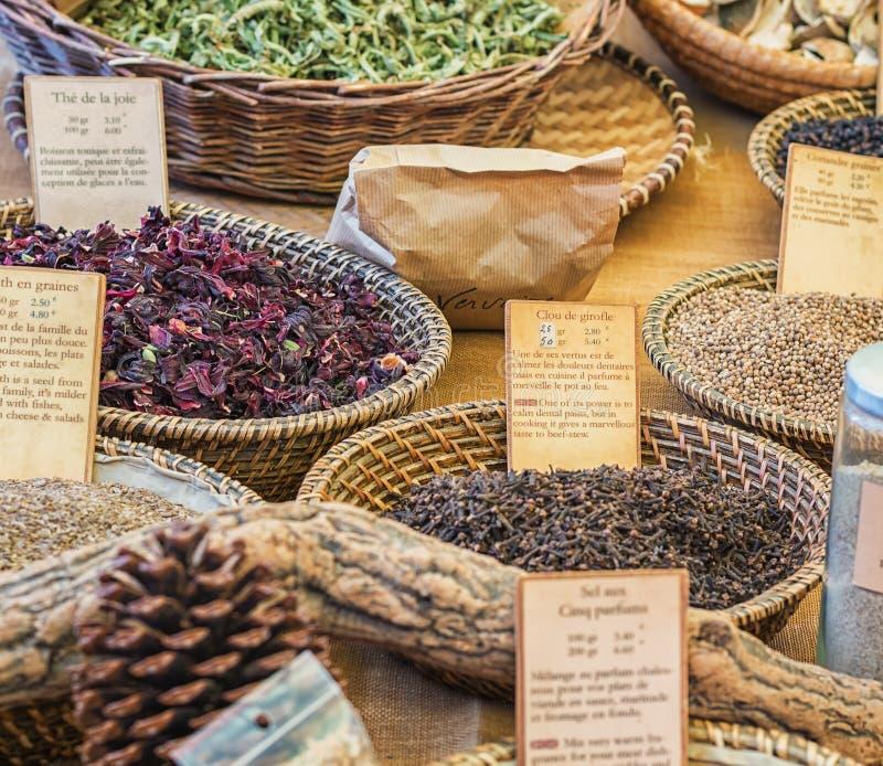 Delicious spices for sale on the market in Vallon Pont d`Arc. Vallon Pont d'Arc, France – September 22, 2016: delicious spices for sale on the royalty free stock image