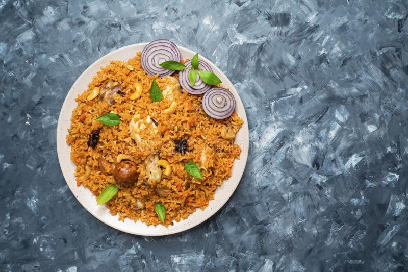 Delicious spicy chicken Biryani, a popular Indian food. royalty free stock photography