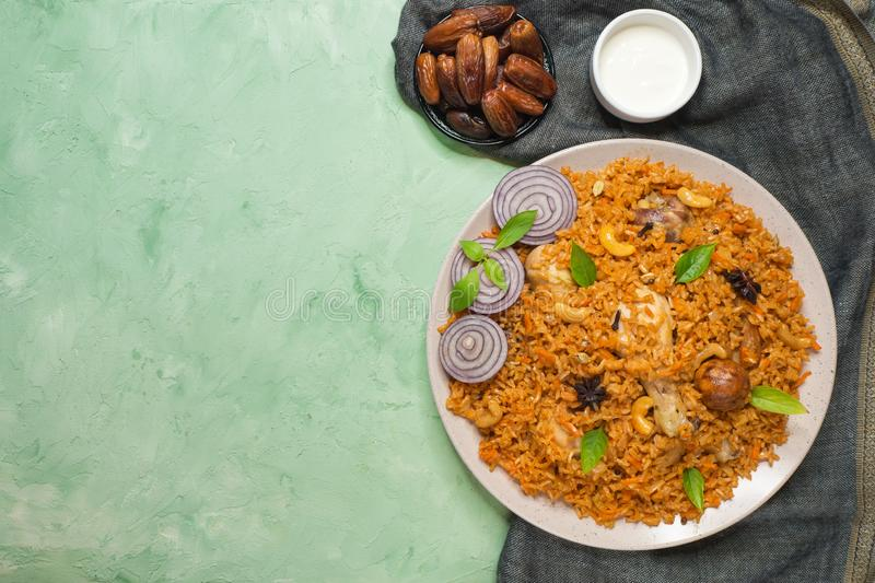 Delicious spicy chicken with rice, Indian food royalty free stock photography
