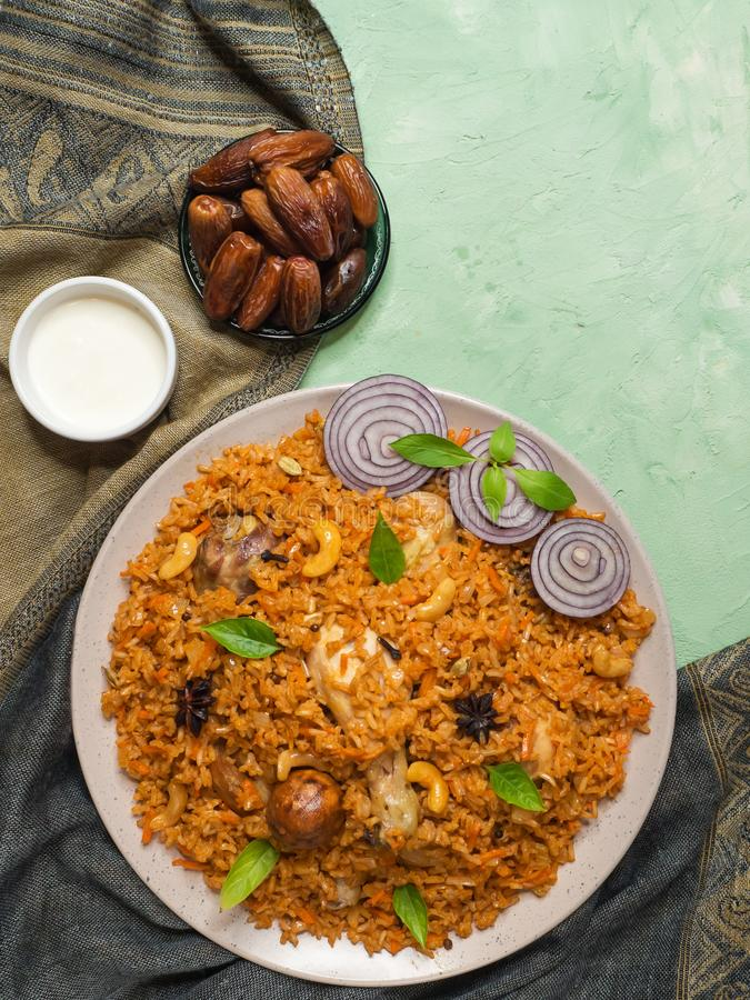 Delicious spicy chicken with rice, Indian food royalty free stock image