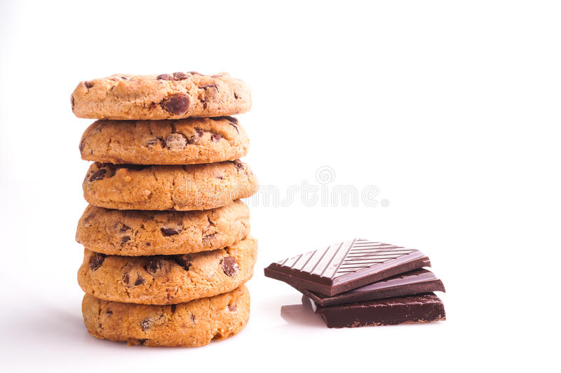 Delicious stack of Chocolate Chip Cookies. On White stock image