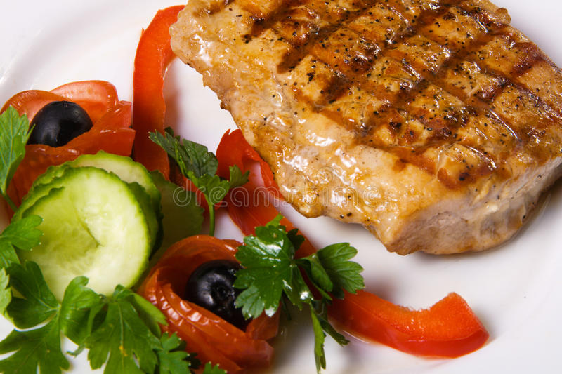Delicious steak with vegetables royalty free stock image
