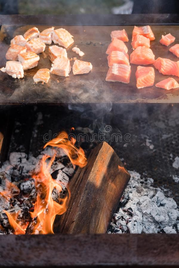 Delicious steaks on a bbq grill stock photos