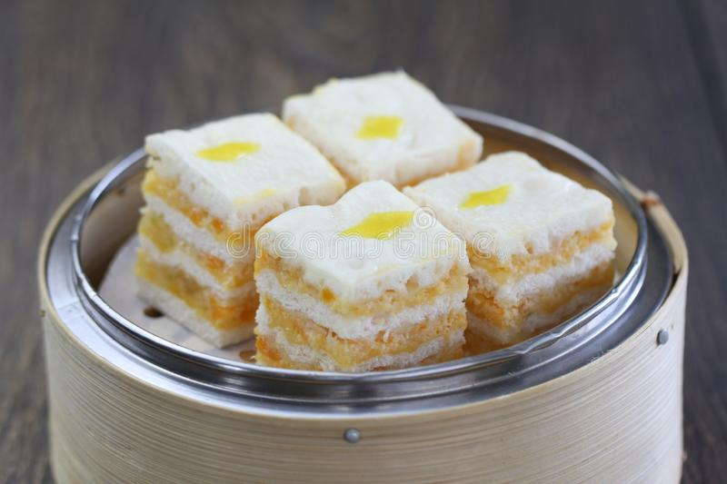 Delicious steamed Creamy Custard Layer Cake. Steamed Creamy Custard Layer Cake with tasteful Hong Kong Style dim sum stock photography