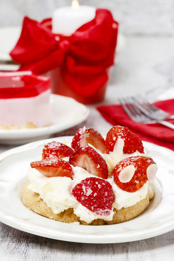 Download Delicious Strawberry Cake On Party Table Stock Photo - Image: 38911640