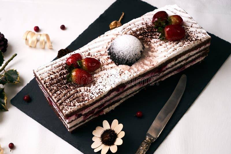 Delicious strawberry Christmas cake stock photo