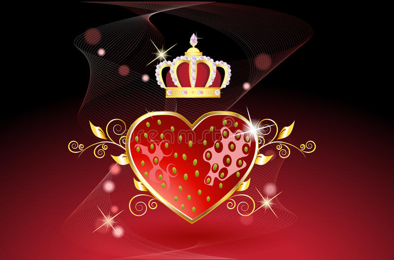 Delicious strawberry heart with crown royalty free illustration