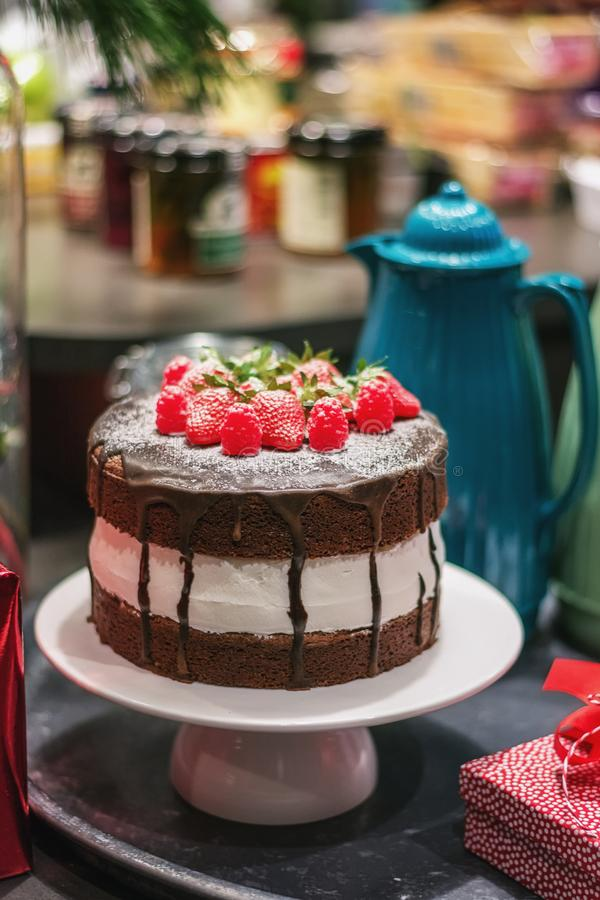 Delicious strawberry raspberry chocolate cake at the food festival in Utrecht in the Netherlands stock images