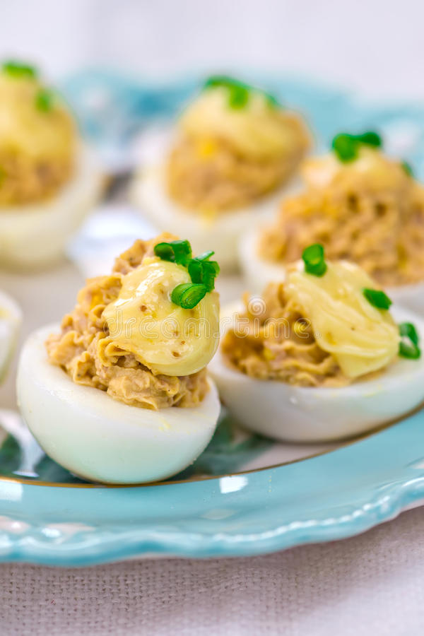 Delicious stuffed eggs on blue plate. Selective focus royalty free stock photos