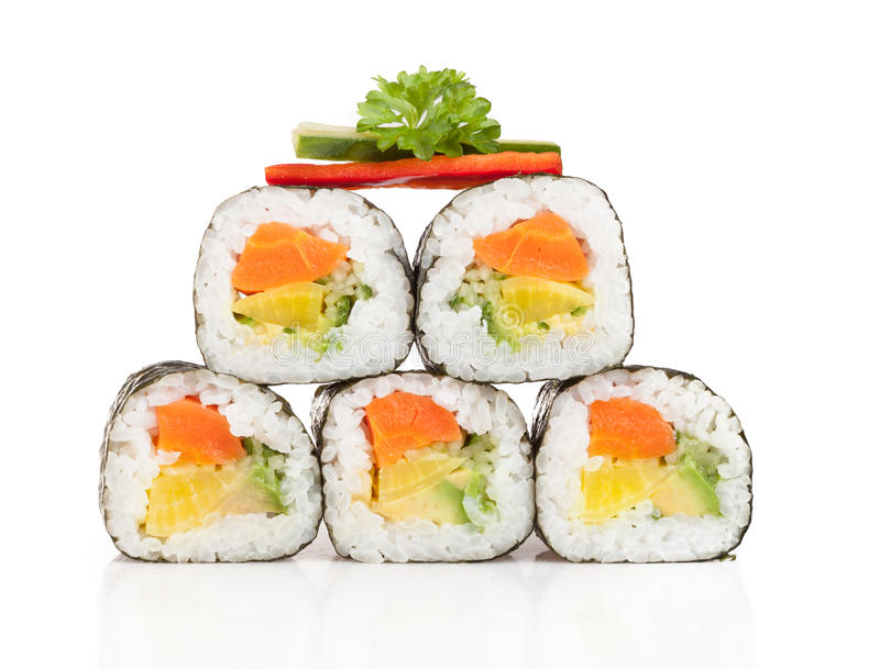 Delicious sushi pieces stock photography