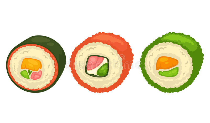 Delicious sushi rolls with fish and greens illustration. Delicious sushi rolls with luxury salmon, white sauce, sea weed, rice and fresh greens isolated cartoon vector illustration
